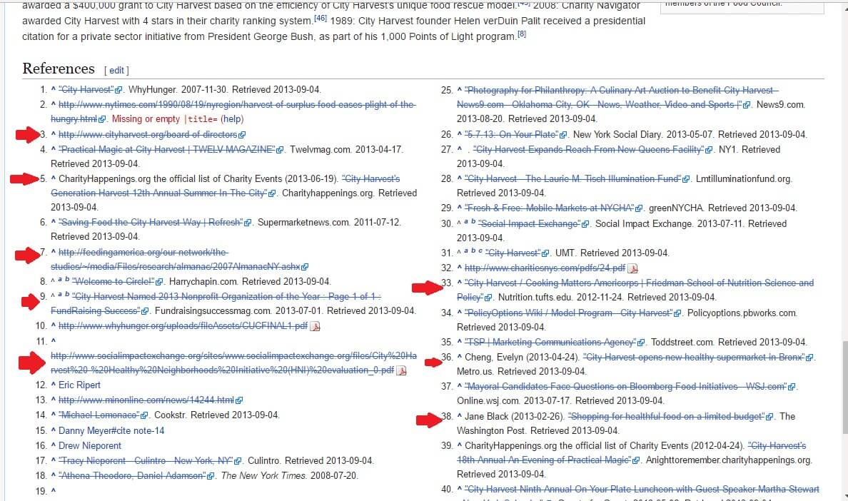 references section on a wikipedia page