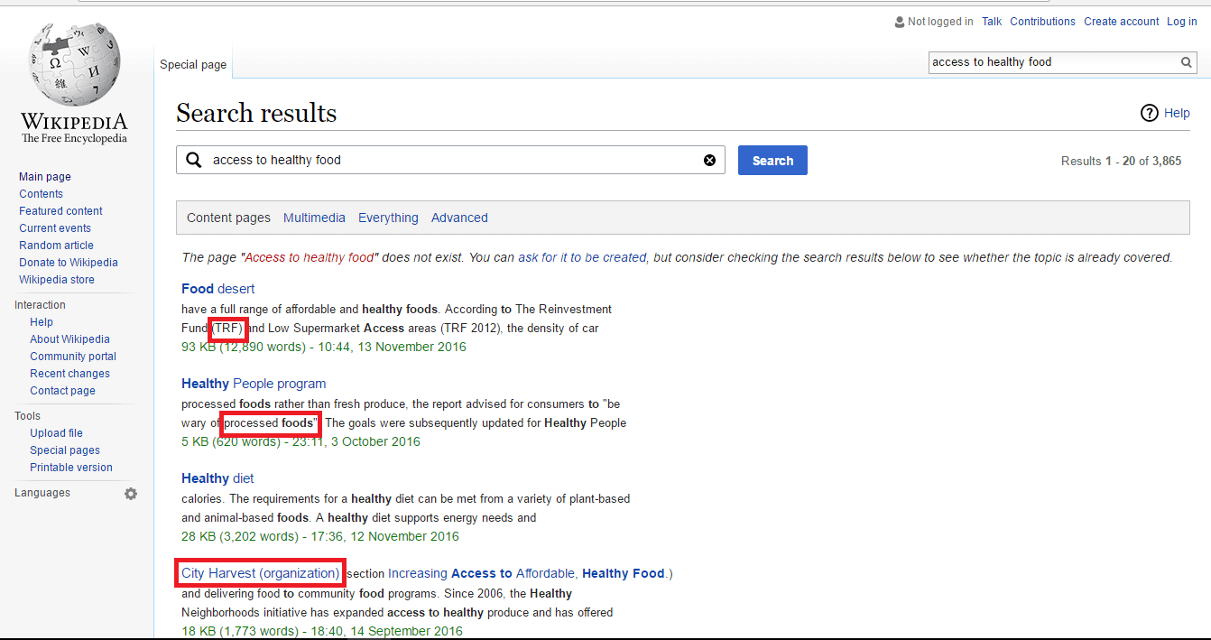 wikipedia search results